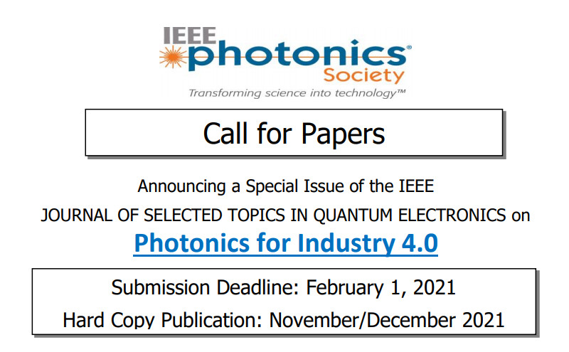 Special Issue on Photonics for Industry 4.0 en IEEE J. Selected Topics in Quantum Electronics