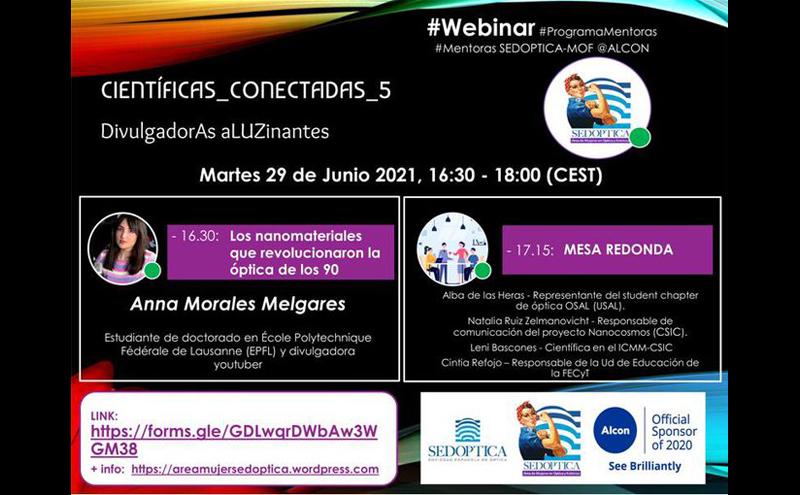 CientíficAs ConectadAs 5: Divulgadoras aLUZinantes - Webinar Programa de Mentoras SEDOPTICA-MOF @ Alcon